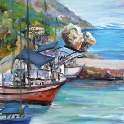 painting-of-poros-port-by-metaxart-artist-done-during-one-week-workshops